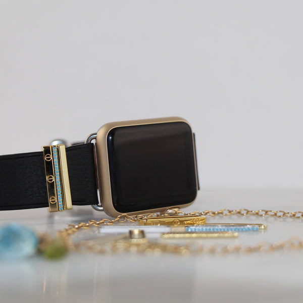 Stainless Apple Watch with black Classic leather band and Bytten Azul Stack accessory - gold
