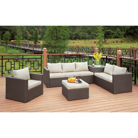 Contemporary Fabric Patio Sectional with Ottoman 5 Piece Set