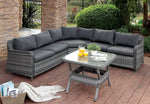 Contemporary Wicker Patio Sectional with Table