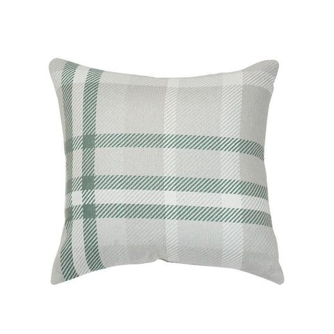 Tartan Jade Square Outdoor Accent Throw Pillow