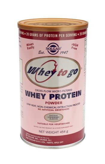 Solgar Whey To Go(R) Whey Protein Powder Natural Strawberry Flavour 454g