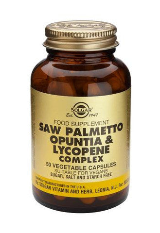 Solgar Saw Palmetto Opuntia & Lycopene Complex 50 Vegetable Capsules