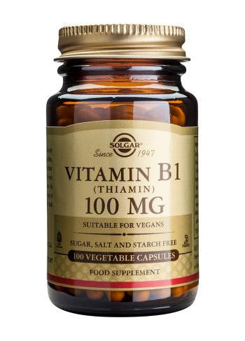 Solgar Vitamin B1 100 mg (Thiamin) 100 Vegetable Capsules