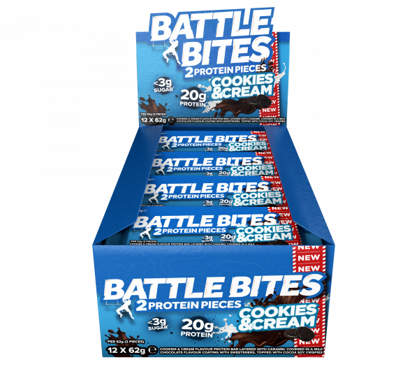 Battle Bites 2 Protein Pieces Cookies & Cream - 12x62g
