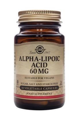 Solgar Alpha Lipoic Acid 60 mg Vegetable Capsules- 30 Capsules