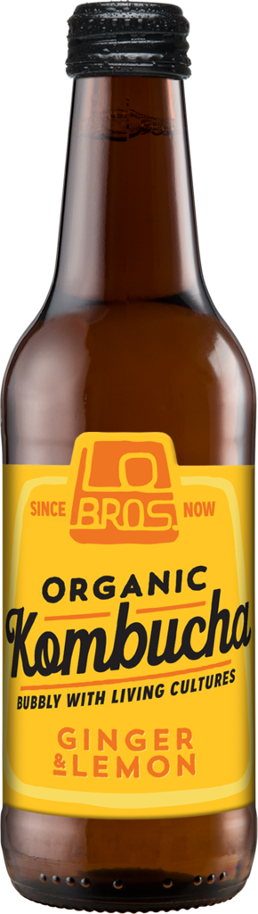 Lo Bros Organic Kombucha Ginger & Lemon 330ml