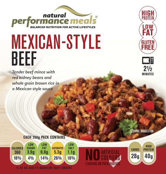Natural Performance meals Mexican Style Beef And Brown Rice - 350g