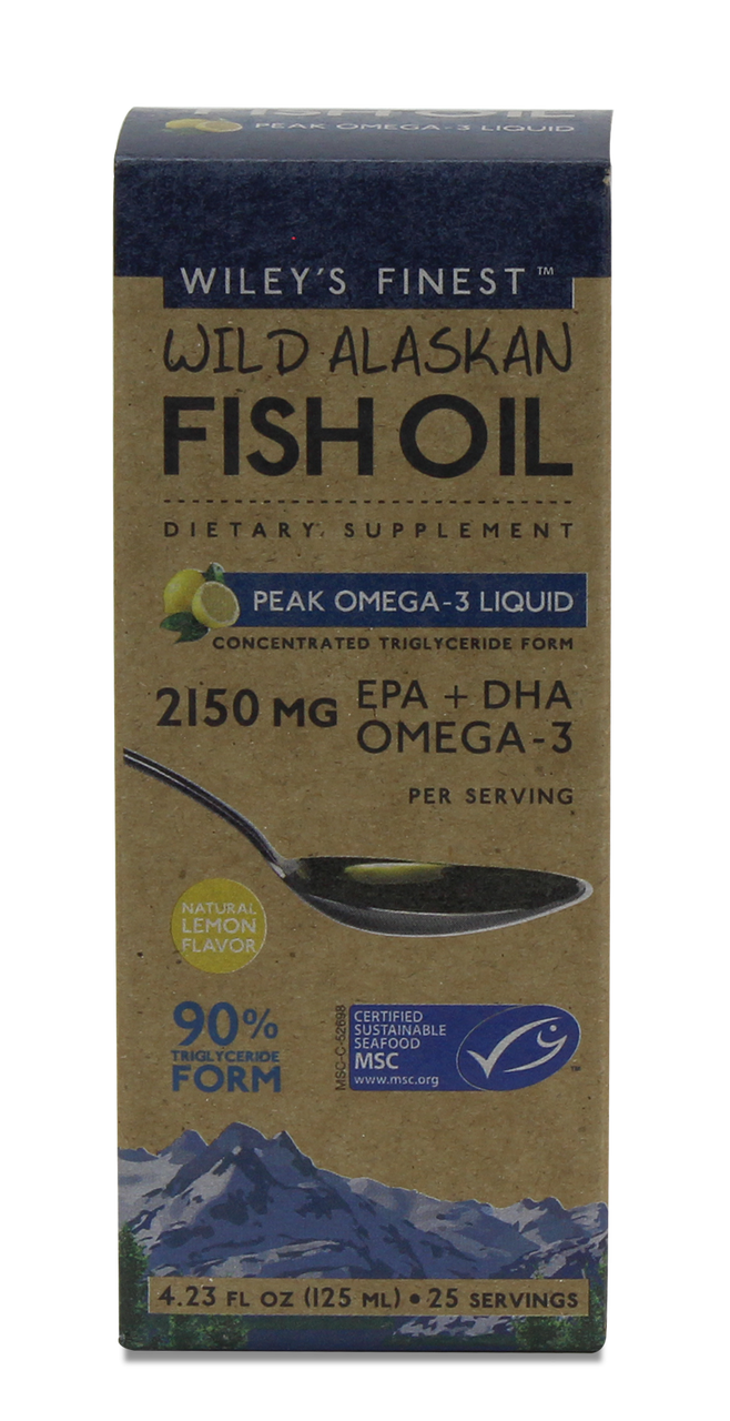 Wiley's Finest Wild Alaskan Fish Oil Peak EPA Omega-3 Liquid (2150MG EPA+DHA PER SERVING), 25 SERVINGS - Lemon Flavour