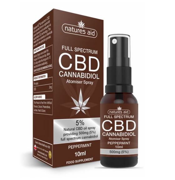 NATURES AID 5% CBD OIL ORAL SPRAY, FULL SPECTRUM CANNABIDOL 10ML