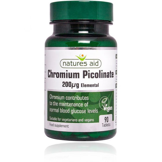 Natures Aid Chromium Picolinate 200ug elemental 90 Tablets