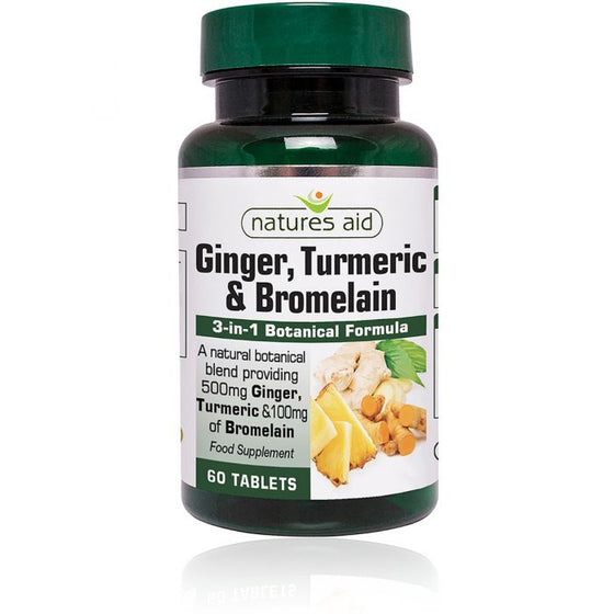 Natures Aid Ginger, Turmeric & Bromelain - 60 Tablets