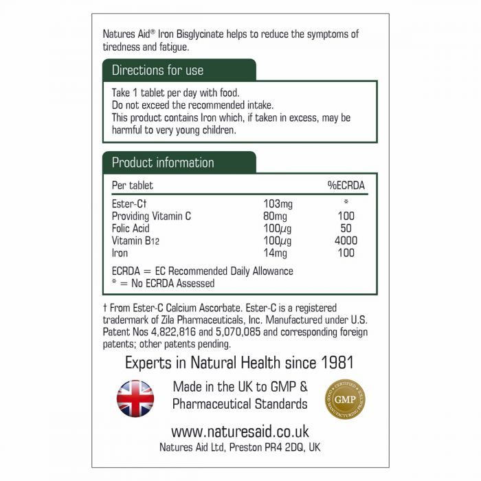 Natures Aid Iron Bisglycinate with Ester-C and Vitamin B12 90 Tablets