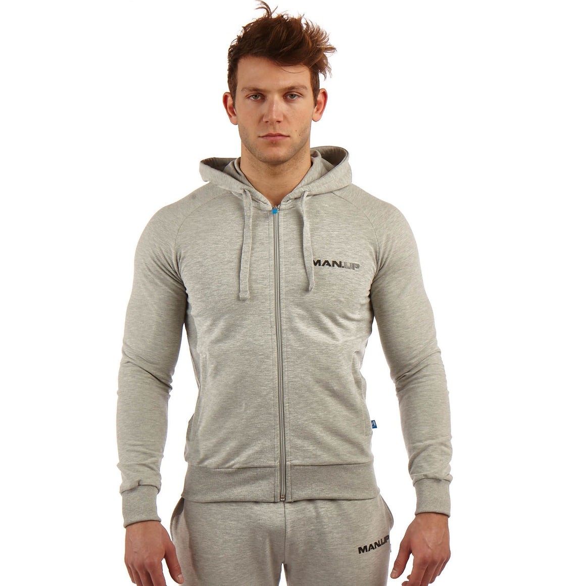 Man Up Hoodie Grey Marl