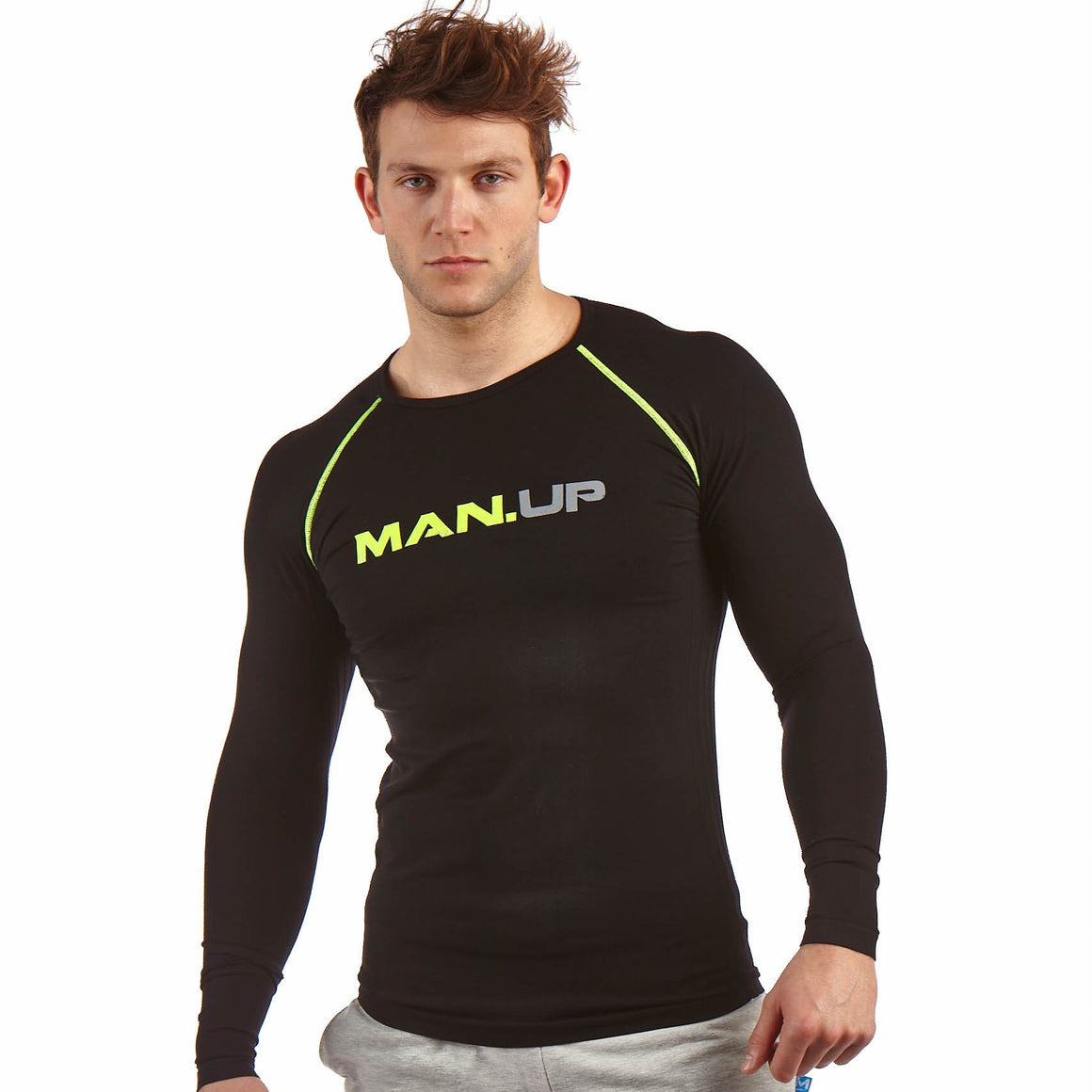 Man Up Compression Top Midnight/Neon