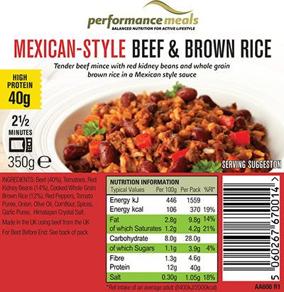 Performance Meals Mexican- Style Beef & Brown rice