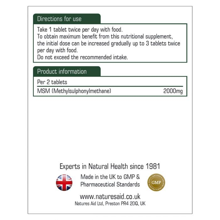 Natures Aid MSM 1000mg - 90 Tablets