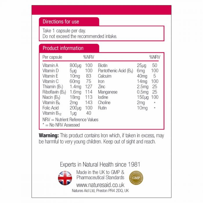 Natures Aid Complete Multi-Vitamins & Minerals (Suitable for Vegetarians) 90 tablets