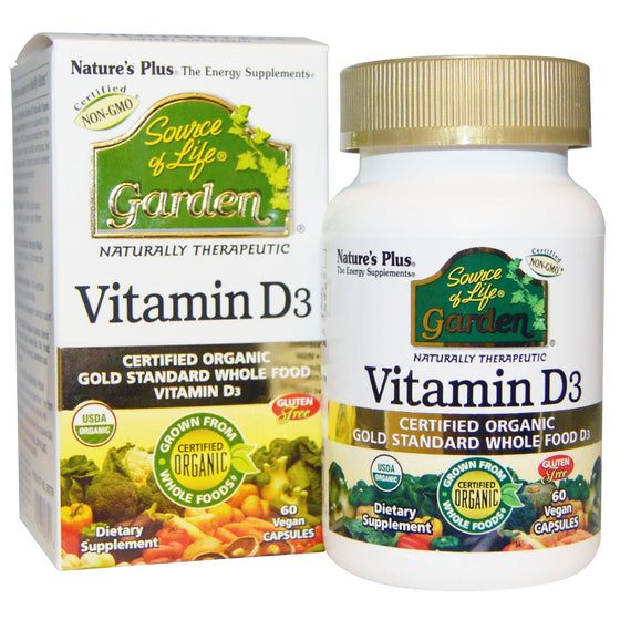 Natures Plus Source Of Life Garden Vitamin D3- 60 Vegan Capsules