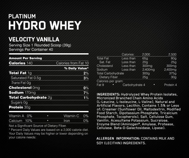 Optimum Nutrition Platinum Hydrowhey 1.5kg