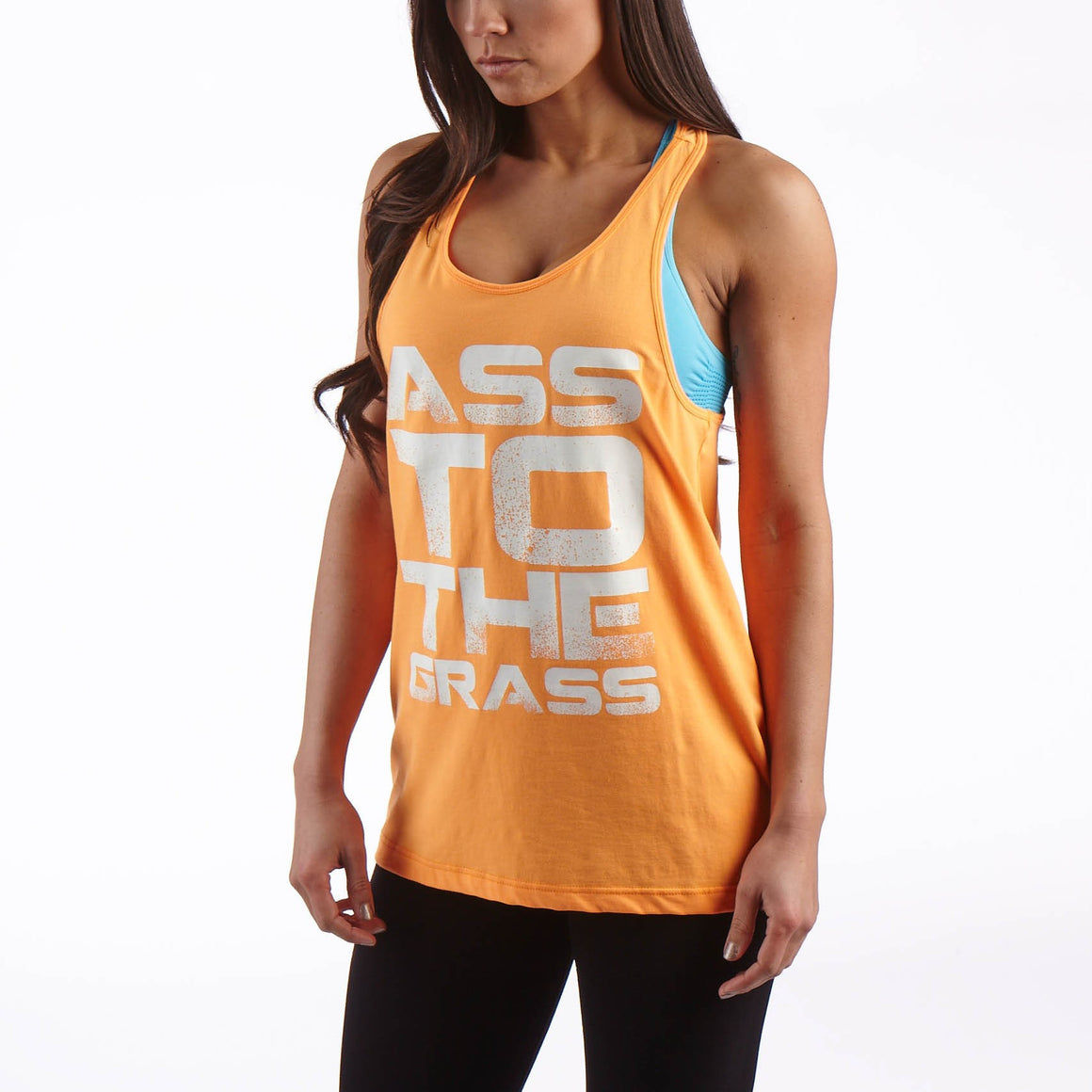 Man Up Slogan Tank Orange/White - Ass To The Grass