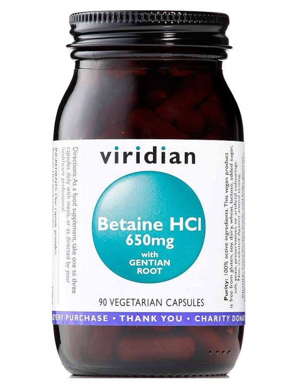 Viridian Betaine HCL with Gentian Root 650mg 90 Capsules