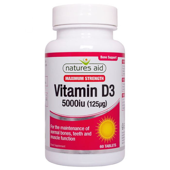 Natures Aid Vitamin D3 5000iu (125ug) High Strength- 60 Tablets