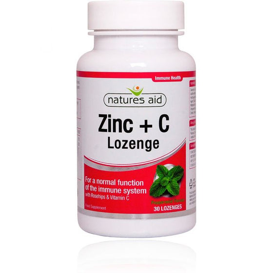 Natures Aid Zinc Lozenge (Peppermint) with Rosehip + Vitamin C 30 Lozenges