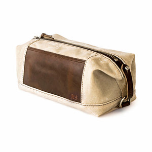 Expandable Waxed Canvas Leather Accented Dopp Kit