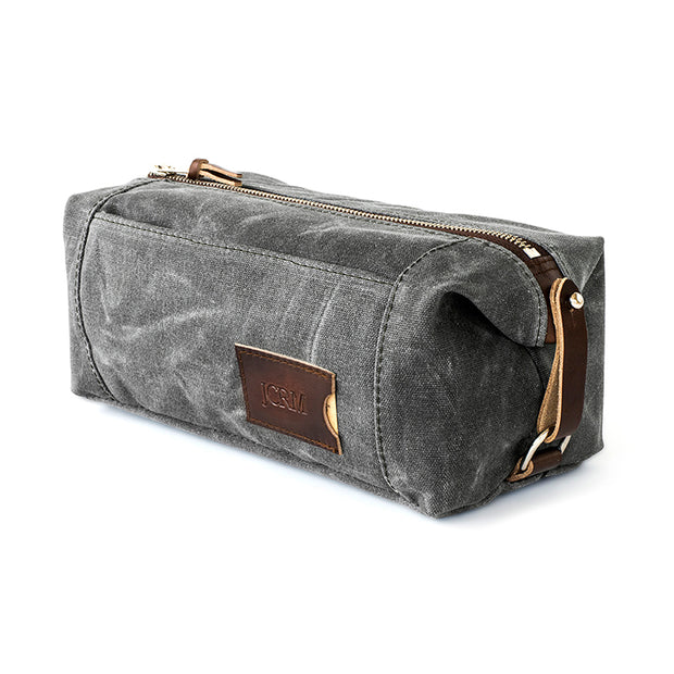 Large Expandable Waxed Canvas Dopp Kit with Multiple Compartments 1