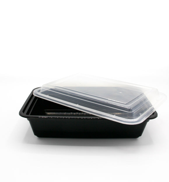 38oz. Black Rectangle Deli Container w/Lid - 150/Case