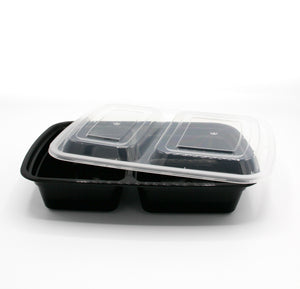 "32oz 9"" x 7""  Rectangular 2 Compartment Deli Container w/Lid - 25/Case"