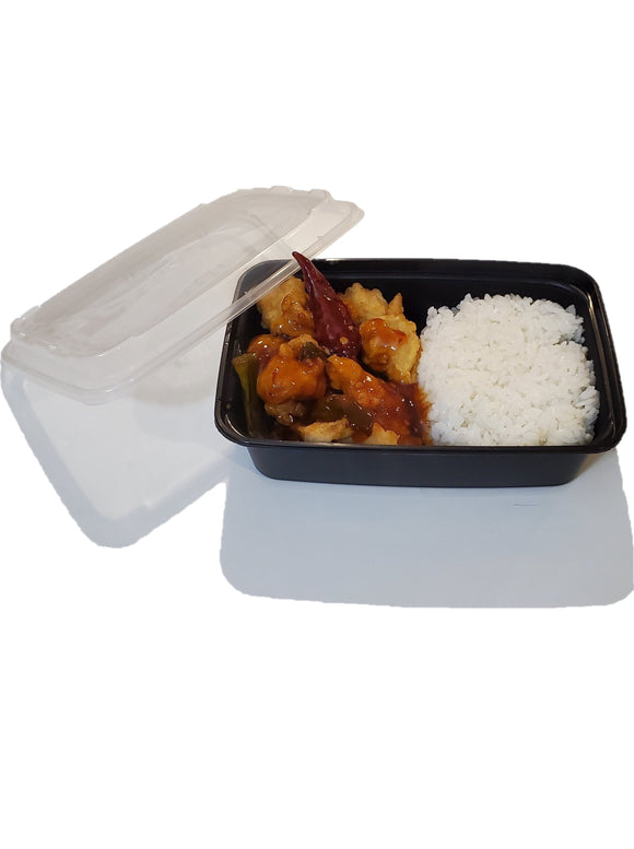 24oz. Black Rectangle Deli Container w/Lid - 150/Case