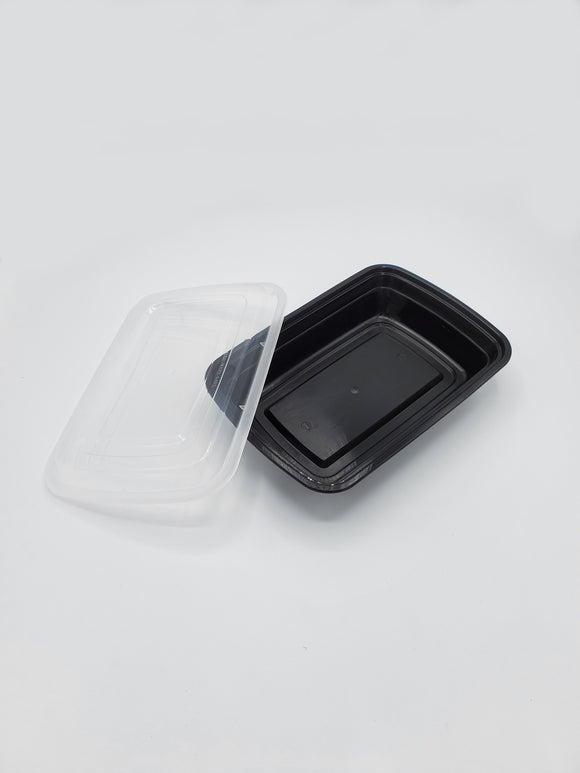 32oz Black Rectangle Deli Container w/Lid - 25/Case