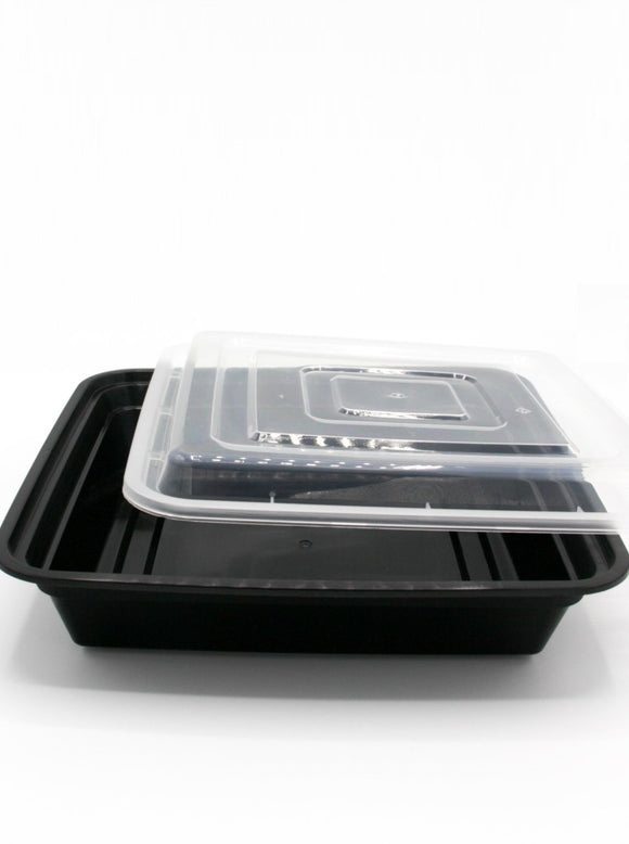48oz. Black Rectangle Deli Container w/Lid - 150/Case