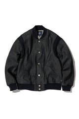 HIGH TWIST DENIM VARSITY JACKET