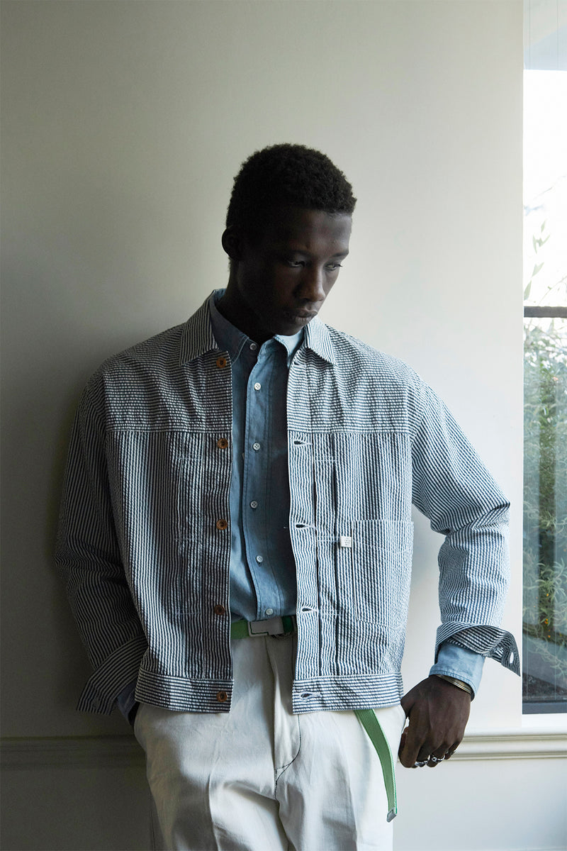 KURO × J.PRESS ORIGINALS - C/SI SEERSUCKER BIG DENIM JACKET
