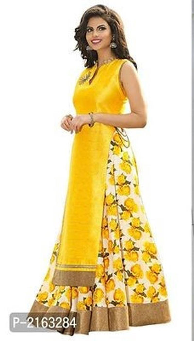 Yellow Floral Printed Art Silk Lehenga Choli Semi Stitched