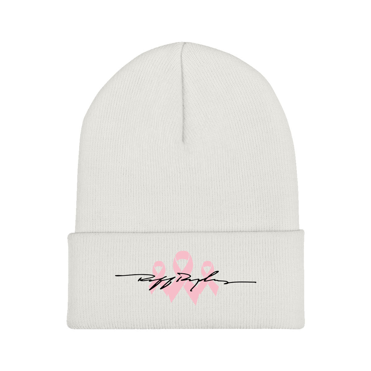 RR Signature Pink Ribbon Beanie - White