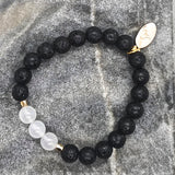 White Jade Lava Rock Stretch Bracelet