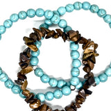 Turquoise & Tiger Eye Stretch Bracelet Set