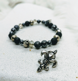 Vintage Bead and Skull Stretch Bracelet with Fleur De Lis Pin