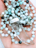 Crystal Quartz Horn Pendant on a Hand Knotted Amazonite & Vintage Crystal Necklace