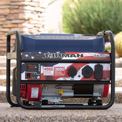 FIRMAN P03611 - Stars and Stripes Performance Series 4550 Watt Recoil Start Portable Generator-American Camp Supply