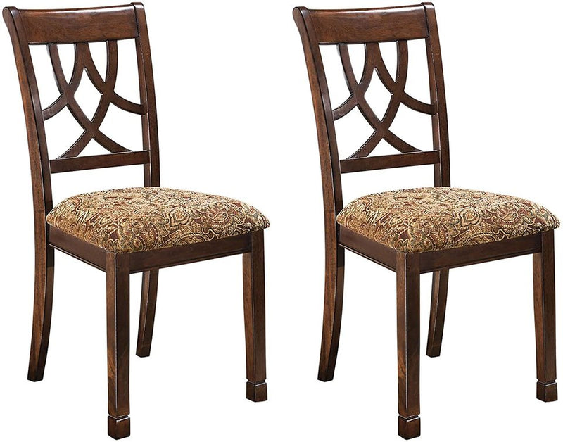 Leahlyn Dining Upholstered Side Chair - Pierced Splat Back - Set of 2 - Medium Brown