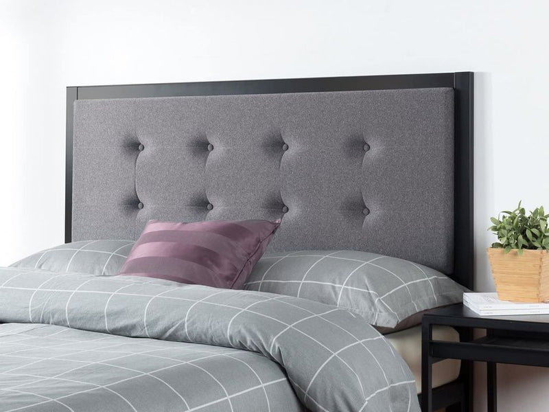 Button Tufted Grey Upholstered Metal Headboard, Queen
