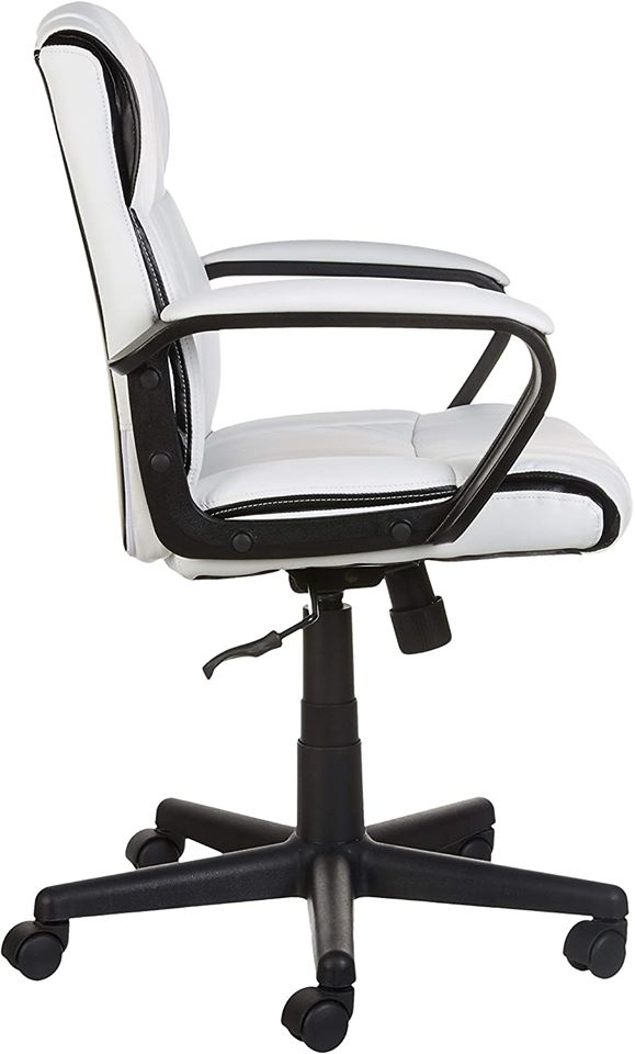 Leather-Padded, Ergonomic, Adjustable, Swivel Office Desk Chair with Armrest, White