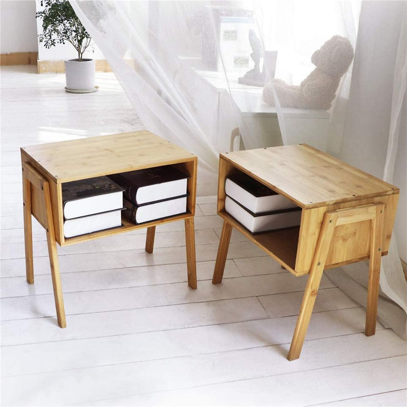 Bamboo Nightstand Stackable Side Table End Table Bedside Tables for Living Room/Bedroom/Nursery Room/Laundry Room/Study Room, Set of 2,Natural