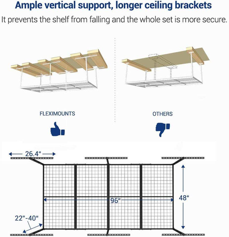 "4x8 Overhead Garage Storage Rack Adjustable Ceiling Garage Rack Heavy Duty, 96"" Length x 48"" Width"