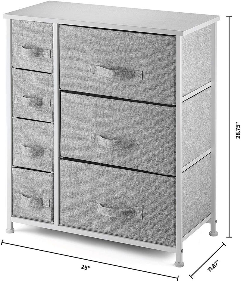 7 Drawers Dresser Furniture Storage Tower Unit for Bedroom, Hallway, Closet Gray/White