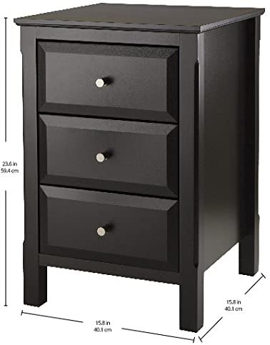 Timmy Accent Table or Night Stand Three Drawers, Black, Assembly required